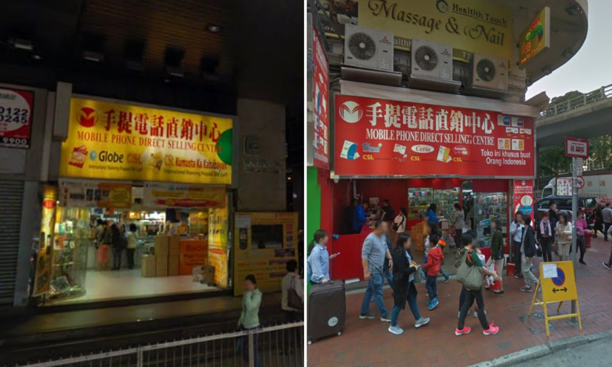 Domestic workers can buy affordable SIM cards in Central (left) and Causeway Bay (right) easily. Photo: Google Maps