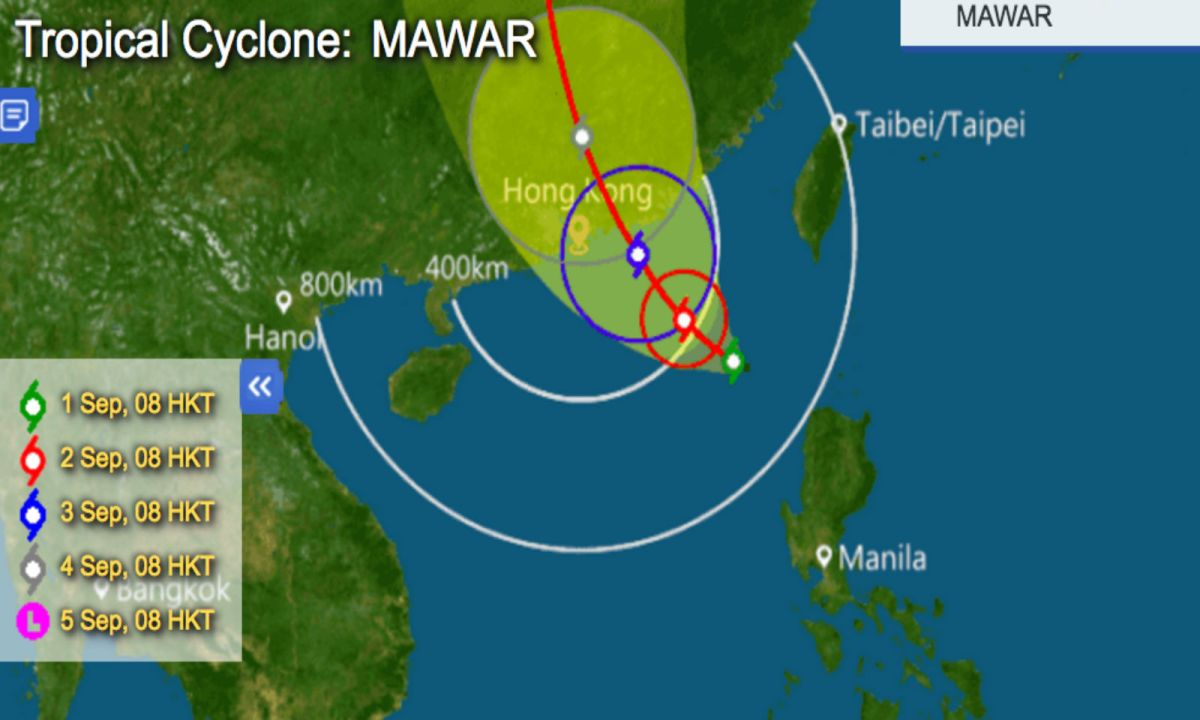 The path that tropical cyclone Mawar is expected to take over coming days. Graphic: HK Observatory