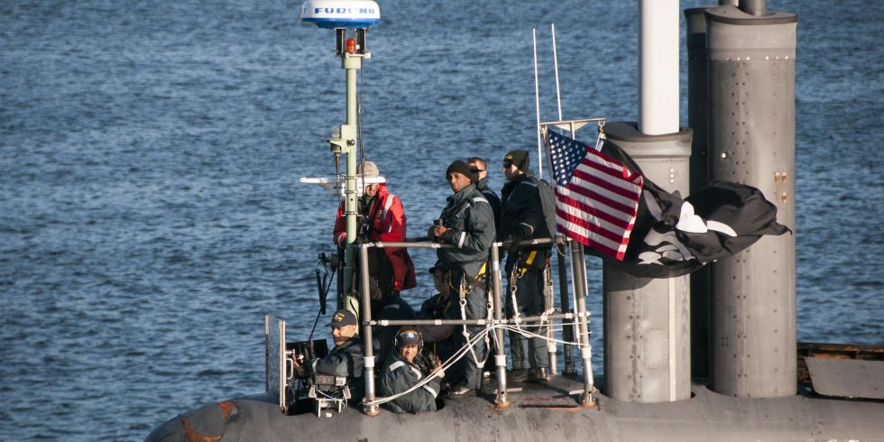 USS Jimmy Carter returns to port on Monday flying a Jolly Roger flag. Photo: US Navy