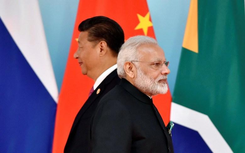 Chinese President Xi Jinping and Indian Prime Minister Narendra Modi on September 4, 2017. Photo: Reuters/Kenzaburo Fukuhara