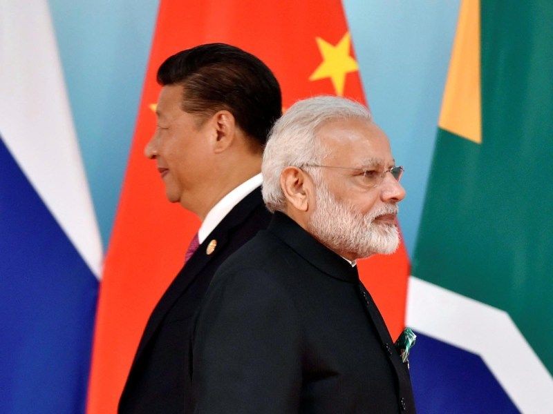 Chinese President Xi Jinping and Indian Prime Minister Narendra Modi on September 4, 2017. Photo: Reuters/Kenzaburo Fukuhara