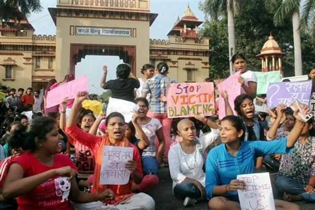 Young women protest against campus sexual harassment at Banaras Hindu University. Photo: Firstpost
