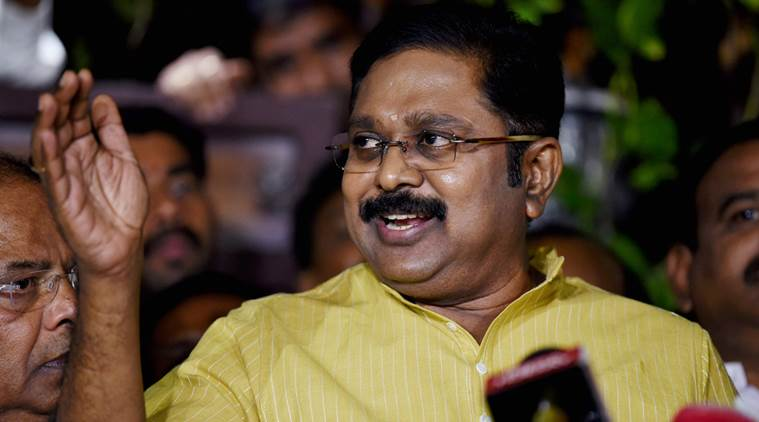 AIADMK rebel leader TTV Dinakaran. Photo: The Indian Express