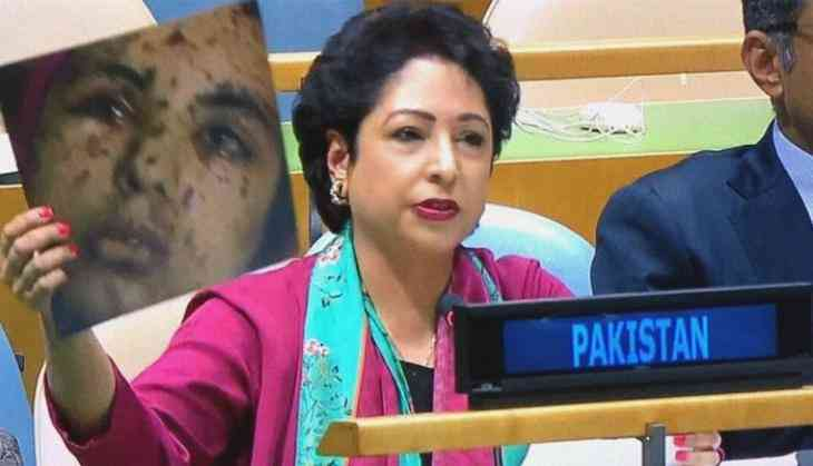 Maleeha Lodhi, Pakistan's permanent representative to the UN, shows controversial photo to the General Assembly in New York on Sunday. Photo: catchnews