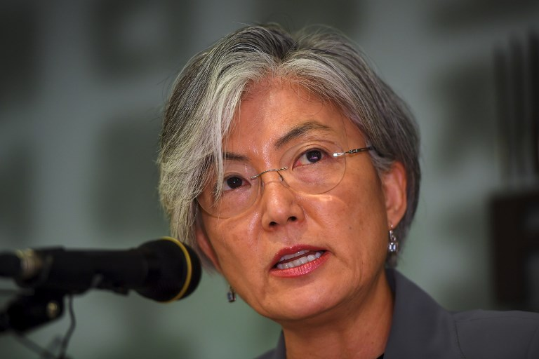South Korean Foreign Minister Kang Kyung-Wha speaks during a press conference in Seoul. Photo: AFP/Jung Yeon-je