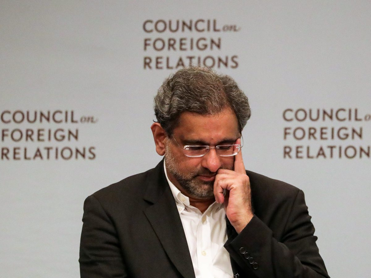 Pakistani Prime Minister Shahid Khaqan Abbasi answers a question during the panel discussion with the Council on Foreign Relations in Manhattan, New York, on September 20, 2017.  Photo: Reuters / Jeenah Moon
