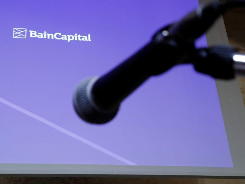 Logo of the Bain Capital is screened at a news conference in Tokyo, Japan September 28, 2017. REUTERS/Kim Kyung-Hoon