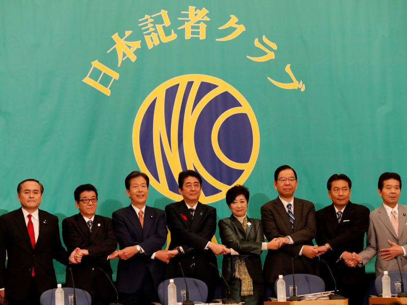 Leaders of Japan's main political parties (L-R) Social Democratic Party leader Tadatomo Yoshida, Japan Innovation Party leader and Osaka Governor Ichiro Matsui, Komeito Party leader Natsuo Yamaguchi, Japan's Prime Minister Shinzo Abe, head of Japan's Party of Hope and Tokyo Governor Yuriko Koike, Communist Party Chairman Kazuo Shii, Constitutional Democratic Party leader Yukio Edano and Party for Japanese Kokoro head Masashi Nakano pose for a photograph at the start of debate session ahead of October 22 lower house election, at the Japan National Press Club in Tokyo, Japan October 8, 2017.   Reuters/Kim Kyung-Hoon