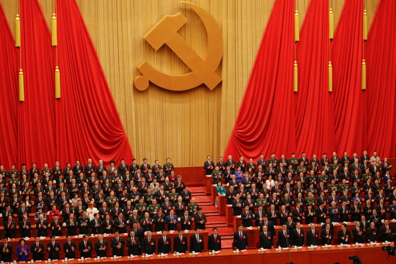 Senior officials at the opening session of the 19th National Congress of the Communist Party in Beijing last year. Photo: Reuters / Damir Sagolj