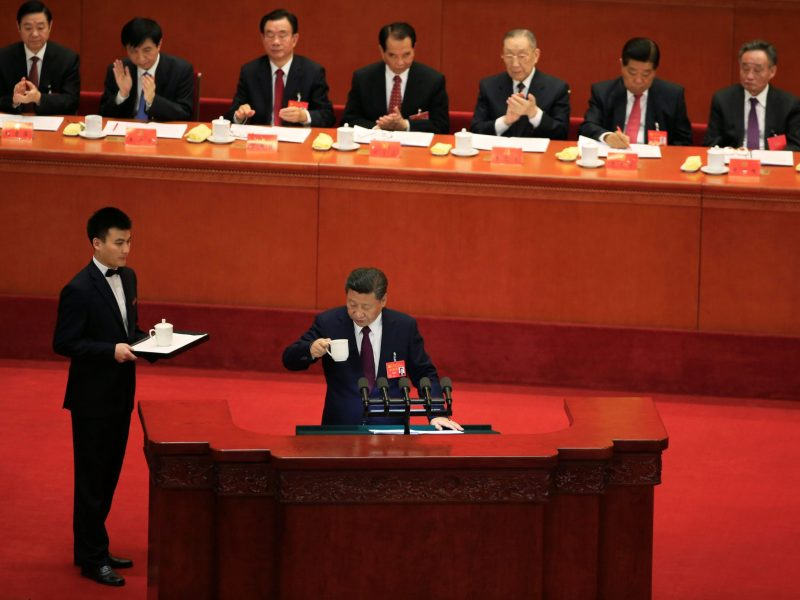 Xi Jinping is served tea as he delivers a speech during the opening session of the 19th party congress Tuesday morning. Photo: Reuters / Aly Song