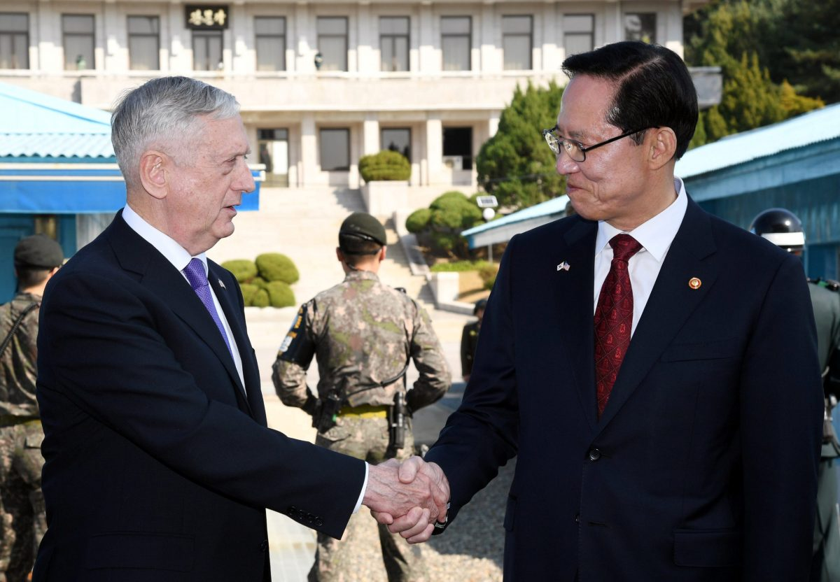 US Defense Secretary Jim Mattis (left) and South Korean Defense Minister Song Young-moo visit the truce village of Panmunjom, South Korea. Photo: Yonhap via Reuters