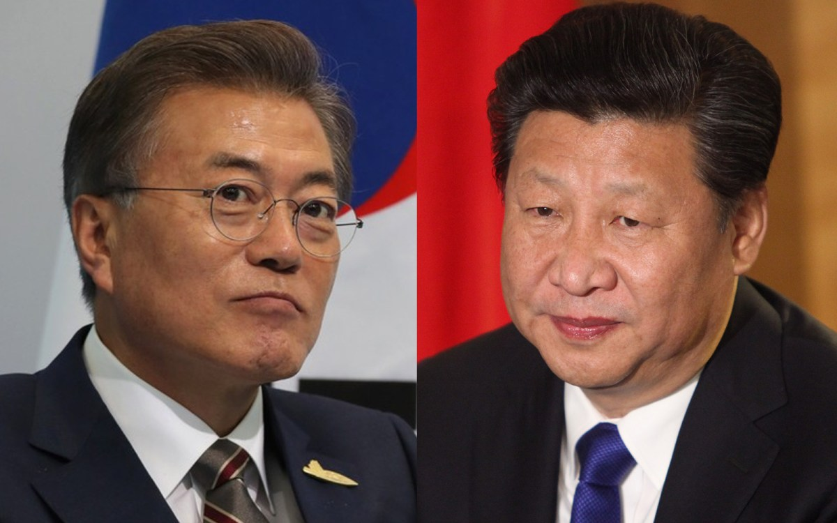 South Korean Presient Moon Jae-in (L) seen opposite Chinese President Xi Jinping. Photos: Wikipedia