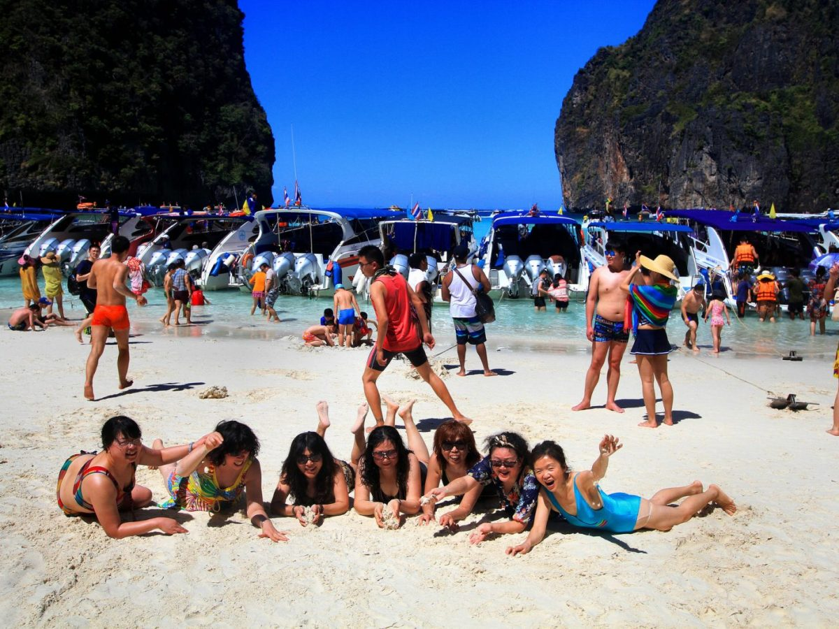 Hordes of tourists are seen at Maya Bay on Phi Phi Island, which is part of a national park south of Phuket and part of Krabi province. Photo: Phalinn Ooi/Flickr