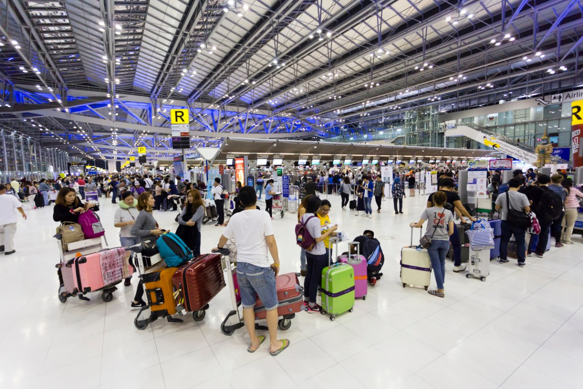 Bangkok, Thailand - March 15, 2017: Suvarnabhumi International Airport departure hall, also known as Bangkok International Airport, is one of two international airports serving Bangkok, Thailand. The airport is  one of the biggest international airports in Southeast Asia and a regional hub for aviation.