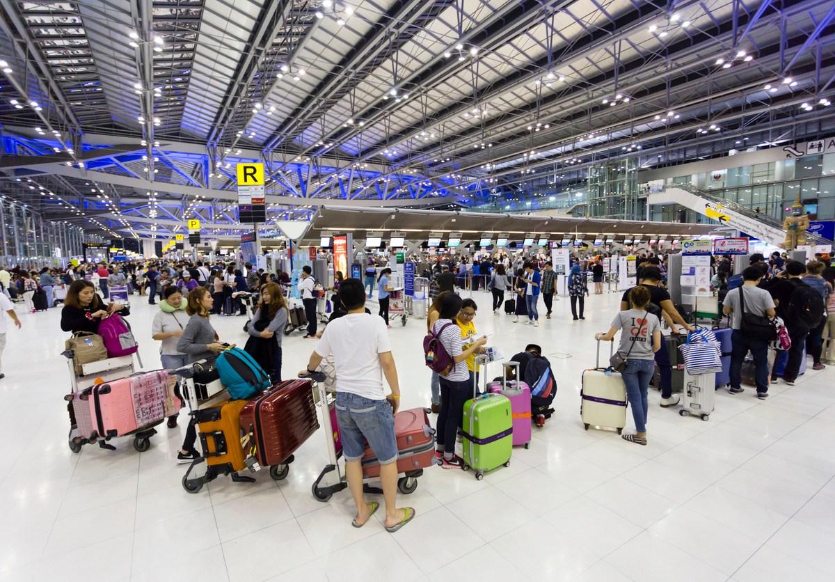 Bangkok, Thailand - March 15, 2017: Suvarnabhumi International Airport departure hall, also known as Bangkok International Airport, is one of two international airports serving Bangkok, Thailand. The airport is  one of the biggest international airports in Southeast Asia and a regional hub for aviation.