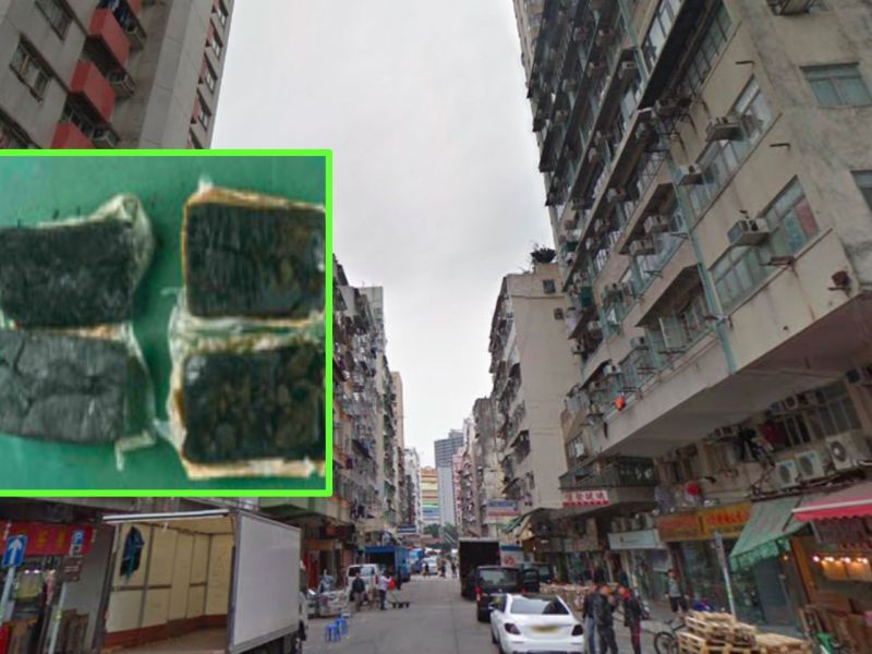 Yau Ma Tei in Kowloon and cannabis resin, inset. Photo: Google Maps, HK Police