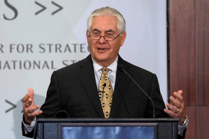 US Secretary of State Rex Tillerson delivers remarks on America's 'Relationship with India for the Next Century' at the Center for Strategic and International Studies in Washington on October 18, 2017. Photo: Reuters / Yuri Gripas
