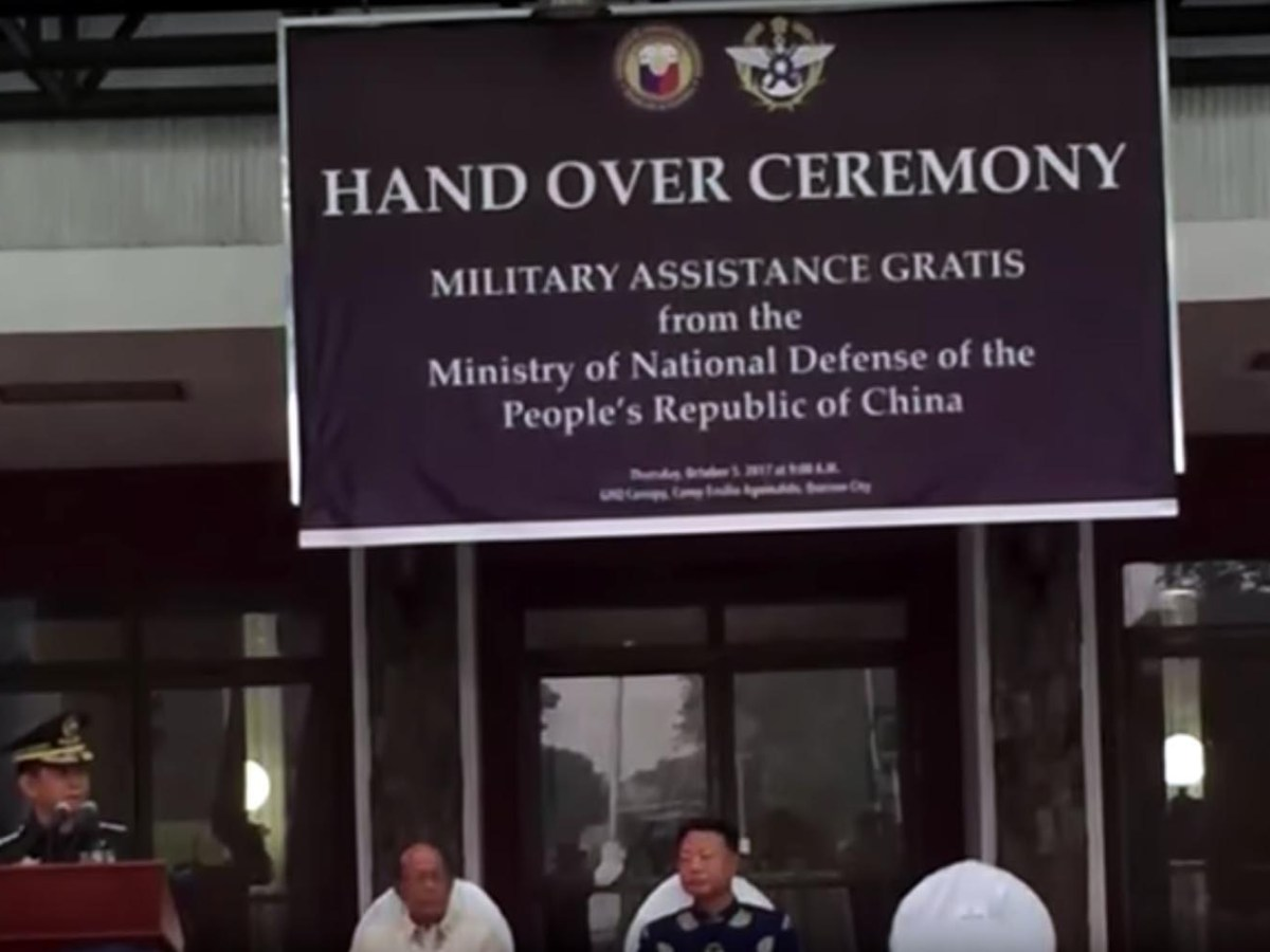 The Taiwanese logo is seen top right on the Handover Ceremony banner. Photo: YouTube screen grab