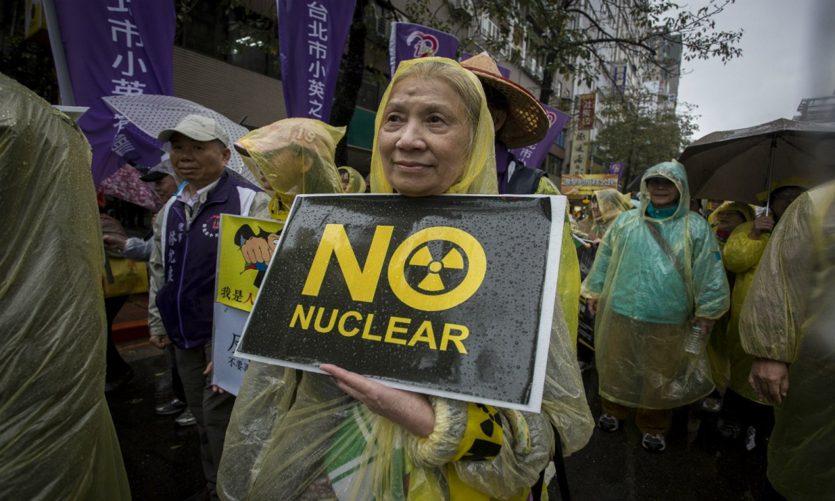 An anti-nuclear protest in Taiwan. The island was once bent on developing its own atomic bombs. Photo: Getty Images