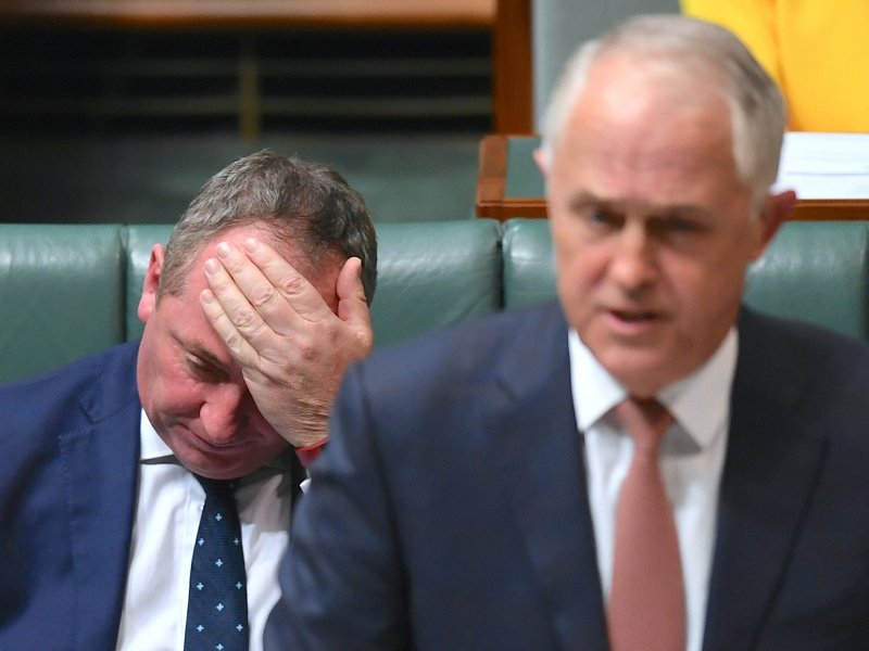 Barnaby Joyce (left), deputy to Australian Prime Minister Malcolm Turnbull, is in trouble over his dual citizenship. Photo: Reuters via AAP/ Lukas Coch