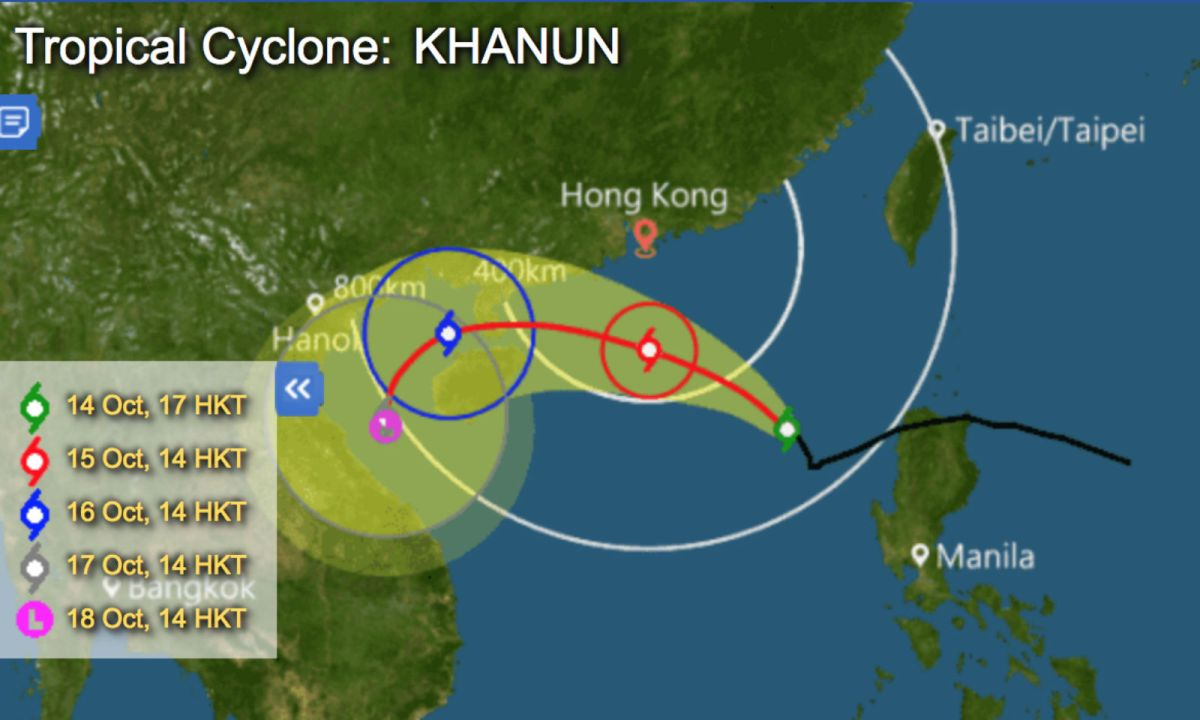 Typhoon Khanun is getting close to Hong Kong on Saturday. Photo: HK Observatory