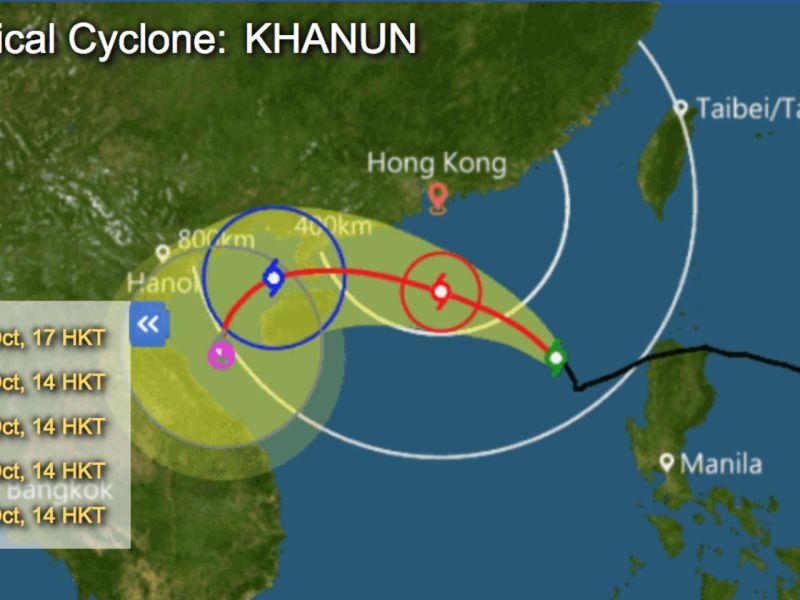 Typhoon Khanun is getting close to Hong Kong on Saturday. Photo: HK Observatory