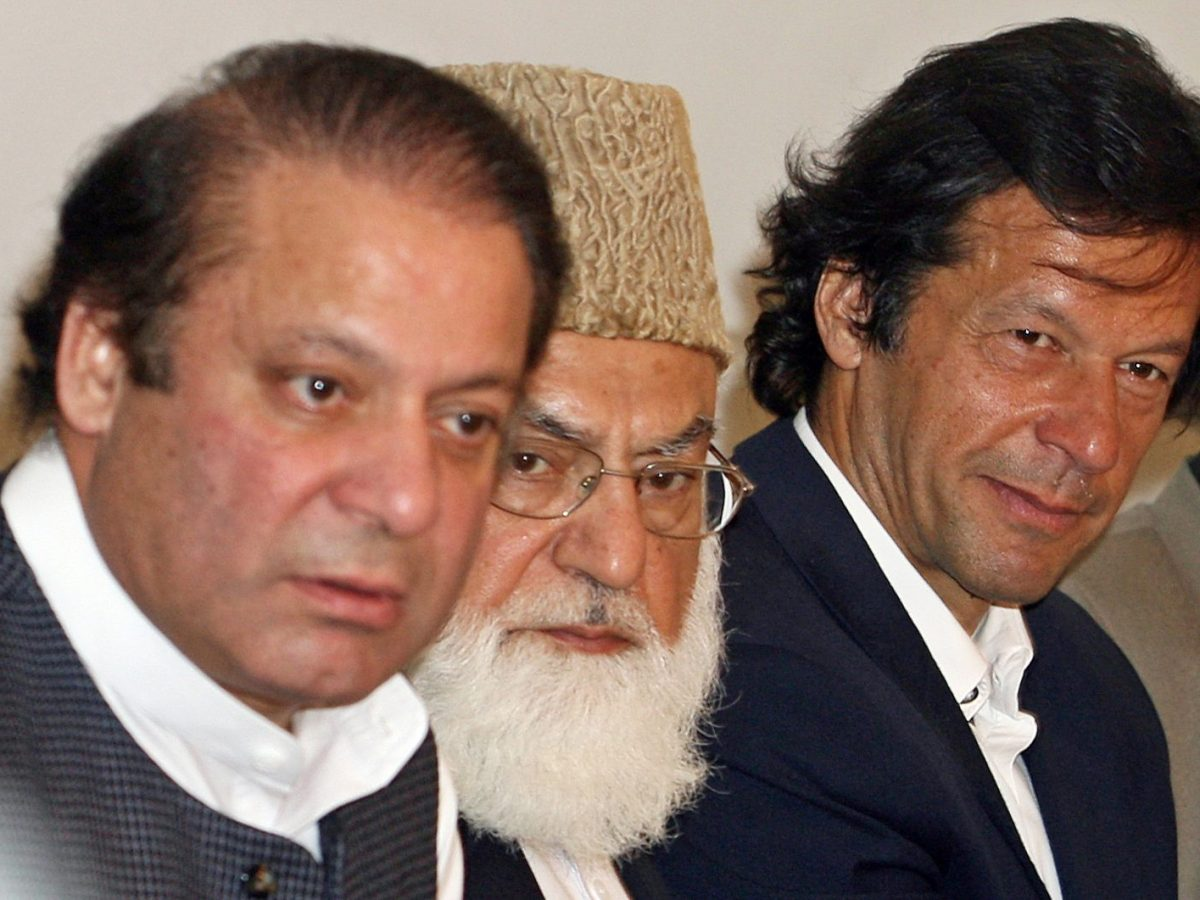 Nawaz Sharif (left) and Imran Khan (right), opponents now, share a platform in 2007. File Photo: AFP / Arif Ali