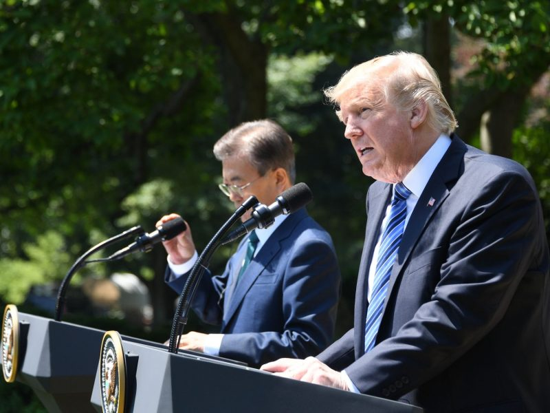 US President Donald Trump gives a joint statement with South Korean President Moon Jae-in in the Rose Garden at the White House in Washington, DC, on June 30, 2017. Photo: AFP / Jim Watson