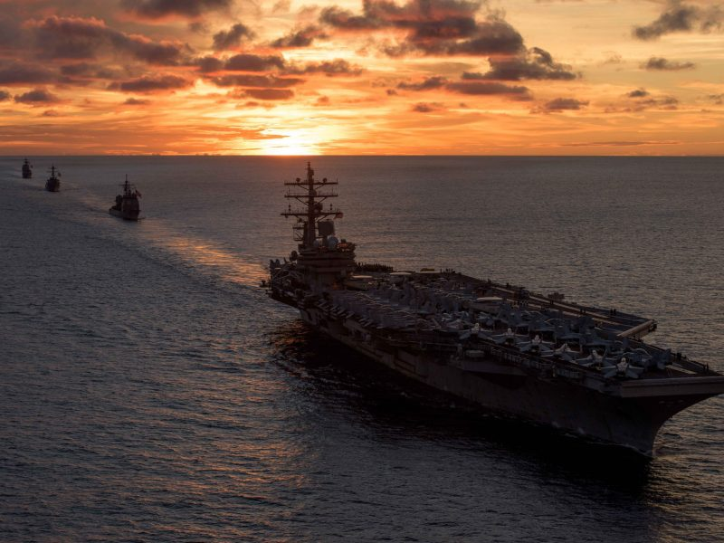 The aircraft carrier USS Ronald Reagan at sail during a live-fire gunnery exercise in the Pacific last June. Photo: US Navy via AFP/Nathan Burke
