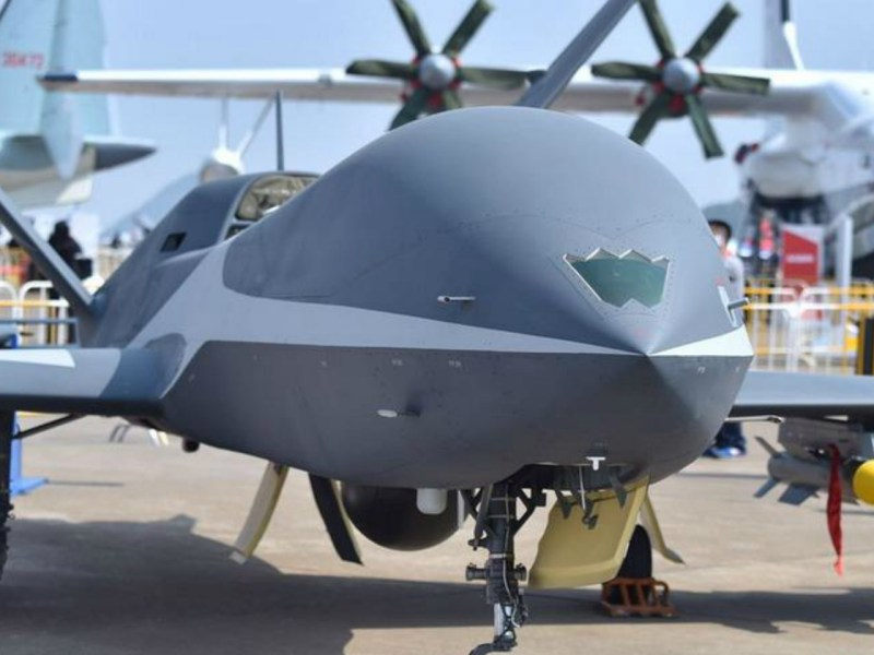 A Yunying combat drone on display at the Dubai Airshow. Photo: People's Daily