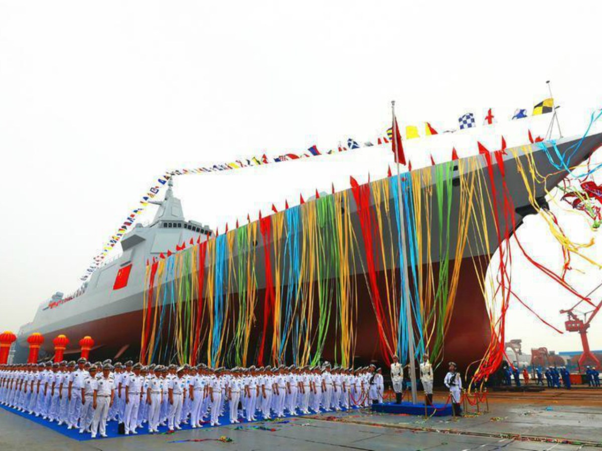 Launch ceremony for the first warship of the 055 class. Photo: CCTV