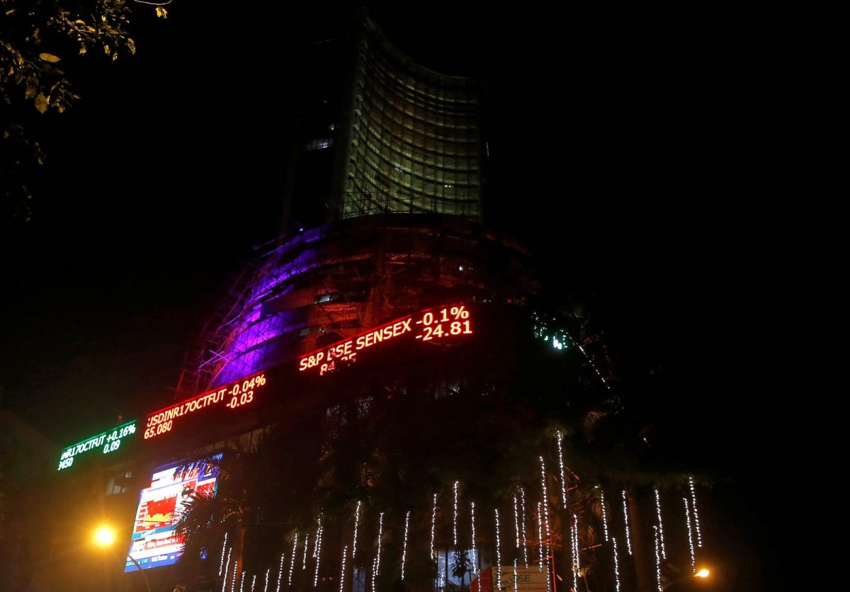 """The Bombay Stock Exchange is illuminated during a special """"muhurat"""" trading session for Diwali, the Hindu festival of lights, in Mumbai on October 19, 2017. Photo: Reuters/Shailesh Andrade"""