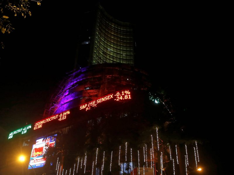 "The Bombay Stock Exchange is illuminated during a special ""muhurat"" trading session for Diwali, the Hindu festival of lights, in Mumbai on October 19, 2017. Photo: Reuters/Shailesh Andrade"