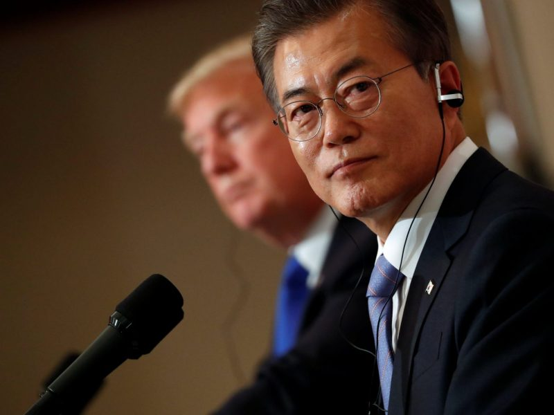 US President Donald Trump's trade policies may cause big problems for South Korea's President Moon Jae-in. Photo: Reuters/Jonathan Ernst