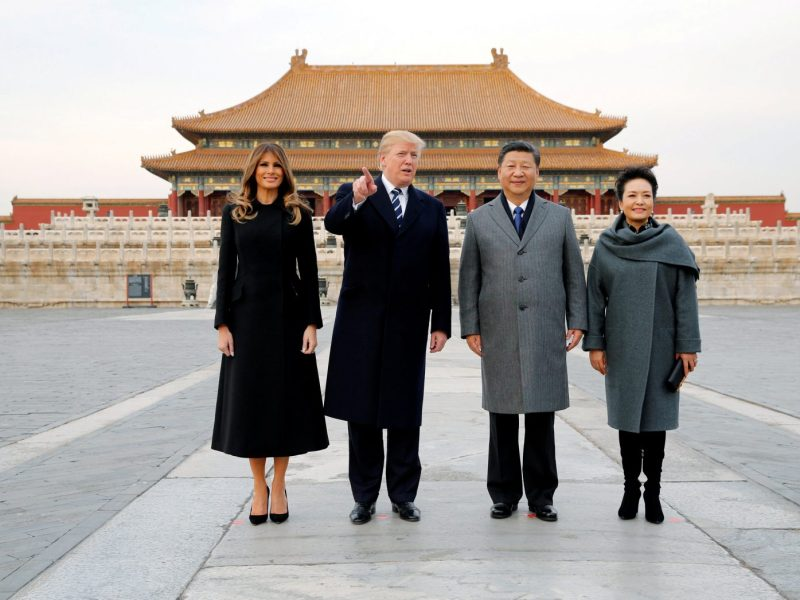 Happier times: US President Donald Trump and First Lady Melania visit Beijing's Forbidden City with China's President Xi Jinping and China's First Lady Peng Liyuan. Photo: Reuters / Jonathan Ernst