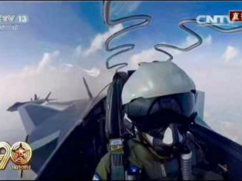 A still from a CCTV report shows the inside view of a J-20's cockpit. Photo: CCTV