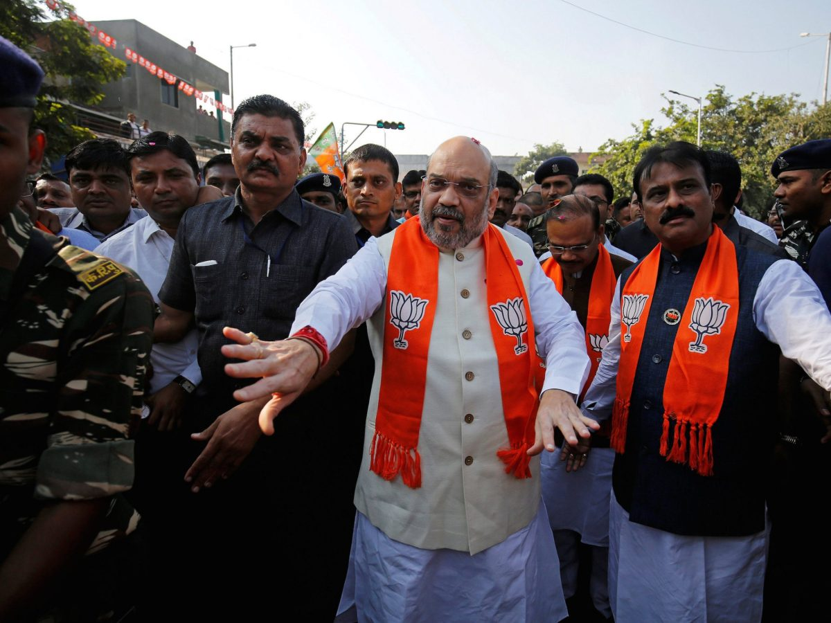 Amit Shah, president of the ruling Bharatiya Janata Party, arrives in Ahmedabad in November 2017 for a door-to-door campaign for the Gujarat state elections. Photo: Reuters/Amit Dave