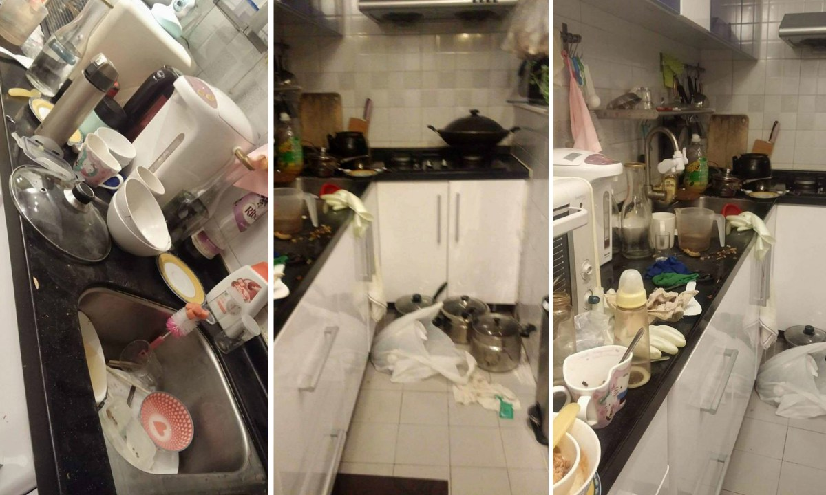 A messy kitchen on a Sunday evening. Photos: OFWs in Hongkong@Facebook