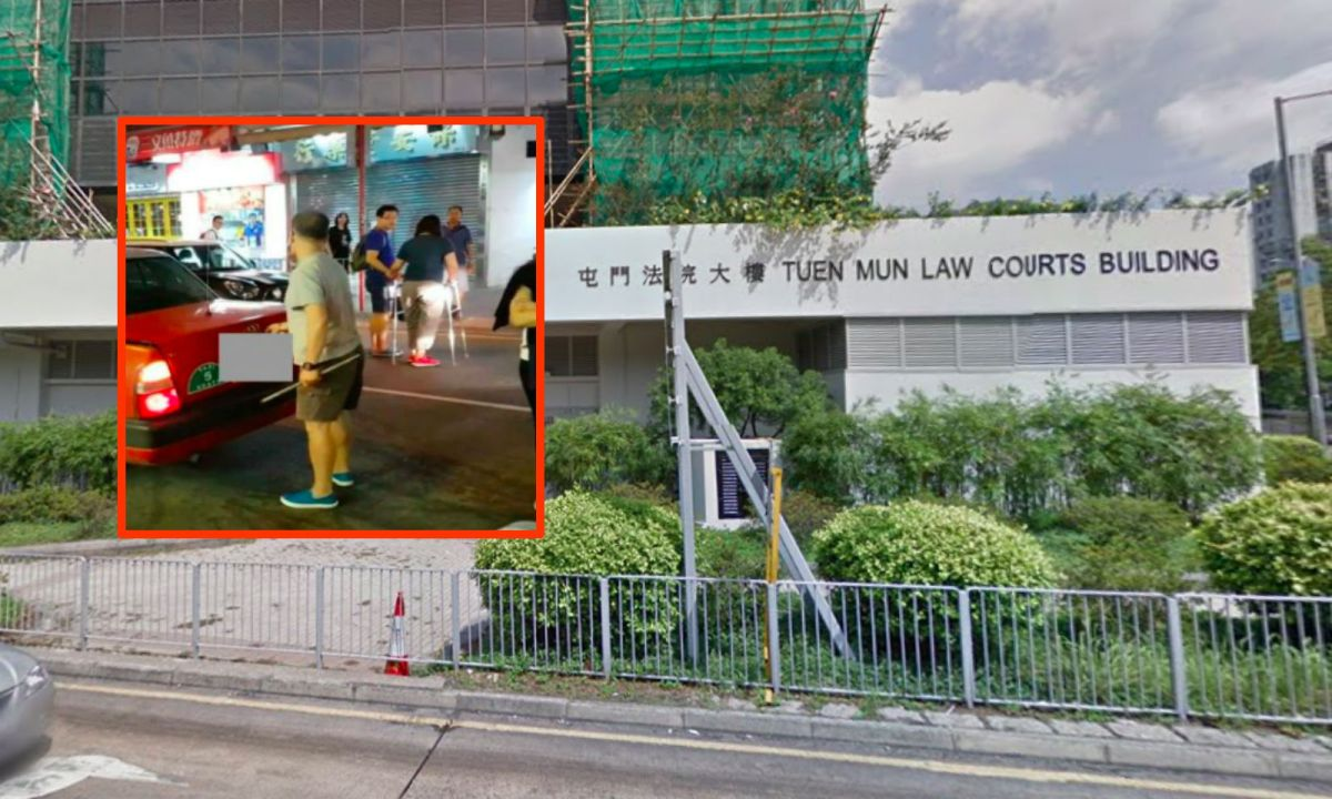 Tuen Mun Magistrates' Court in the New Territories, with the cabbie holding the iron rod (inset). Photo: Google Maps