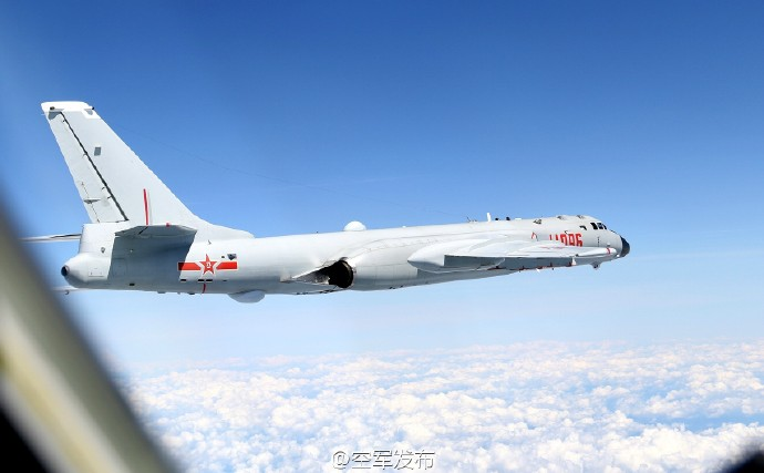 A photo dispatched by the PLAAF shows an H-6K bomber above the Taiwan Strait. Photo: PLA