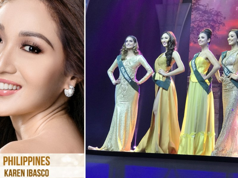 Karen Ibasco, Miss Earth 2017 and the four top contestants. Photos: Facebook/Miss Earth Foundation