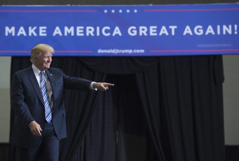 US President Donald Trump arrives to speak at a Make America Great Again rally in West Virginia, on August 3, 2017. Photo: AFP / Saul Loeb