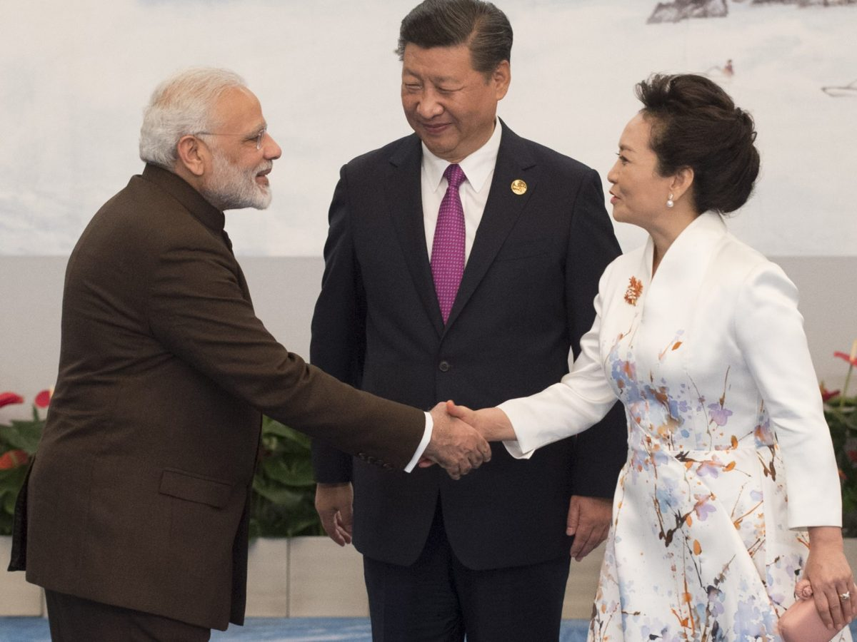 Chinese President Xi Jinping looks on as he and his wife Peng Liyuan welcome Indian Prime Minister Narendra Modi to a banquet during the BRICS Summit in Xiamen, Fujian province, on September 4, 2017. Photo: AFP