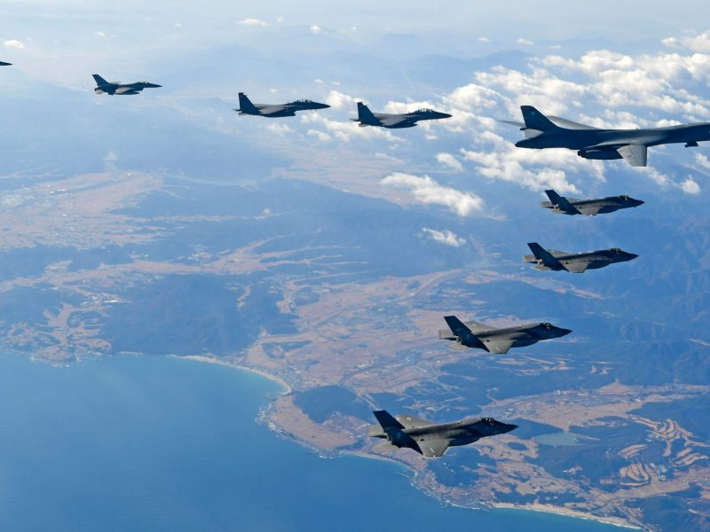 A US Air Force B-1B Lancer bomber flying over South Korea with US and South Korean fighter jets during a joint military drill this week. Photo: South Korean Defense Ministry via AFP