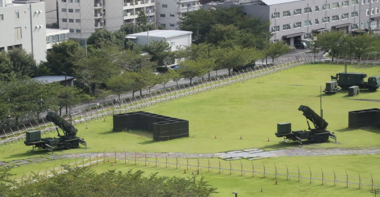 Patriot Advanced Capability-3 missile interceptors are deployed at the Defense Ministry in Tokyo last September. Japan is considering bostering its missile defense capabilities in response to Chinese advances. Photo: Yomiuri Shimbun via AFP