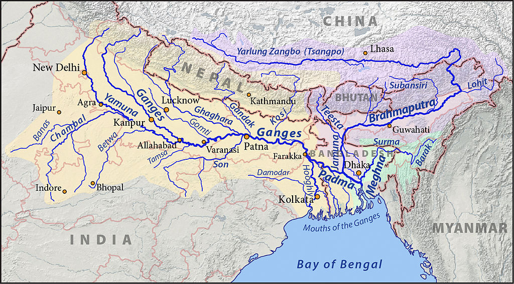 The Brahmaputra river runs from its origin in western Tibet through India and, before joining the sea in  Bangladesh. Photo: Pfly/WikiCommons
