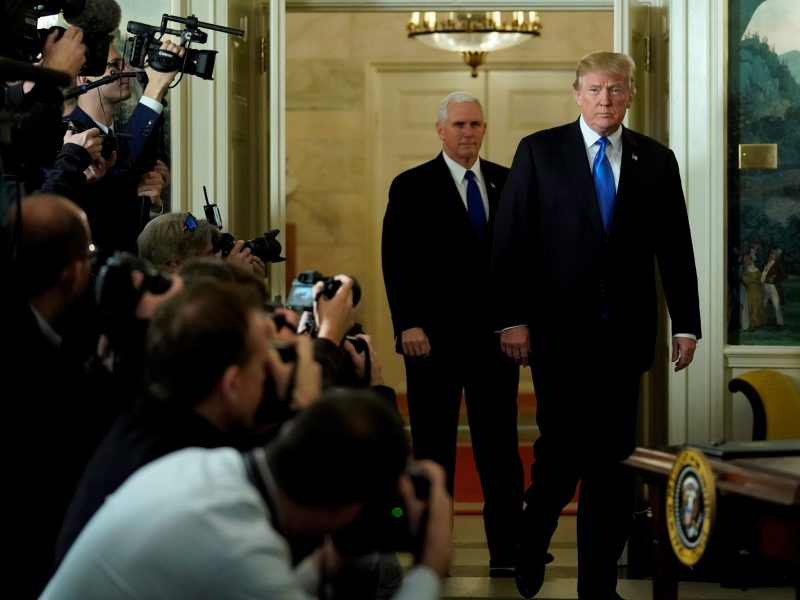 US President Donald Trump and ‪Vice President Mike Pence‬ arrive for Trump to deliver remarks recognizing Jerusalem as the capital of Israel at the White House, on December 6, 2017. Photo: Jonathan Ernst