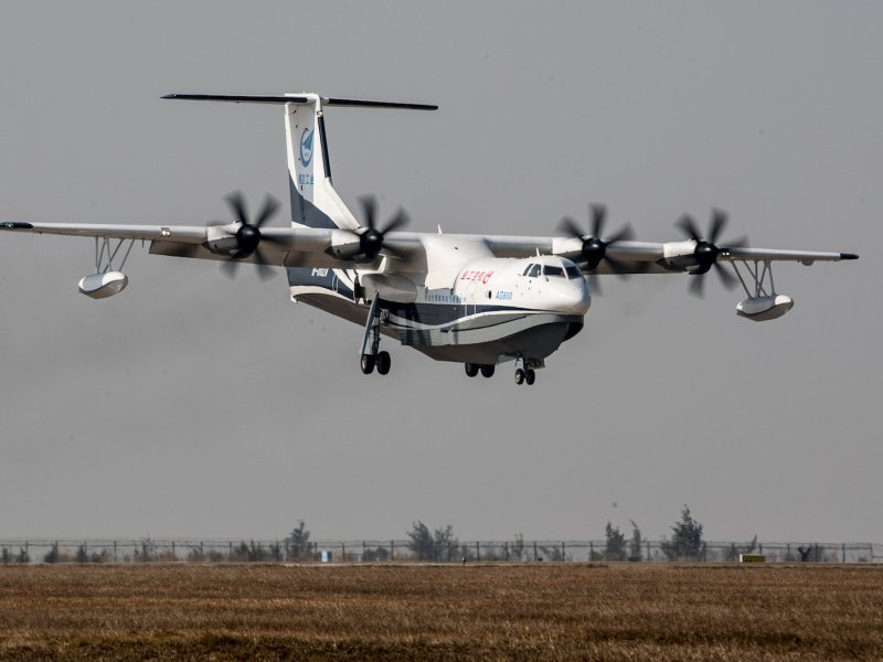 China's domestically developed AG600, the world's largest amphibious aircraft. Photo: Reuters