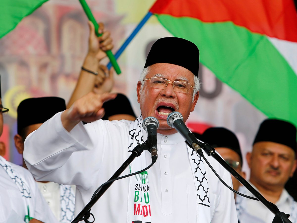 Malaysia's Prime Minister Najib Razak gestures as he speaks during a rally against US President Donald Trump's decision to recognize Jerusalem as the capital of Israel, in Putrajaya, Malaysia December 22, 2017. Photo: Reuters/Lai Seng Sin