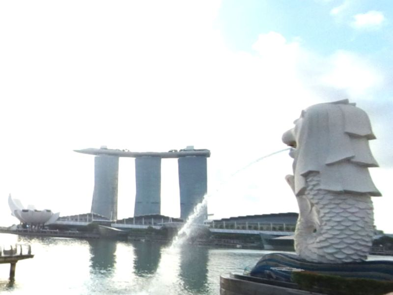The Merlion Statue and Marina Bay Sands in Singapore. Photo: Google Maps